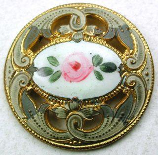 Antique French Enamel Button Pierced Rose W/ Fancy Painted Border - 1