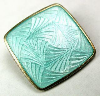 Vintage Enamel On Sterling Button Aqua Color Basse Taille Design - 11/16