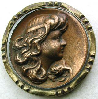 Antique Copper Button Art Nouveau Woman ' S Head W/ Collar & Brass Border - 1