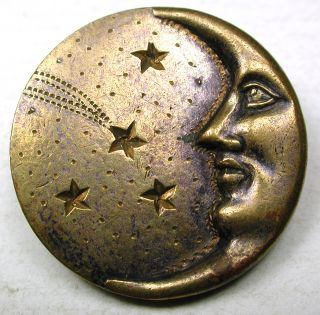 Antique Brass Button Crescent Moon Face & Comet - 1