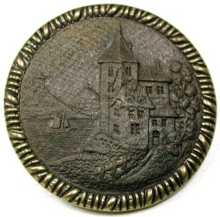 Antique Pressed Wood In Brass Button Detailed Chateau Above River - 1 & 716