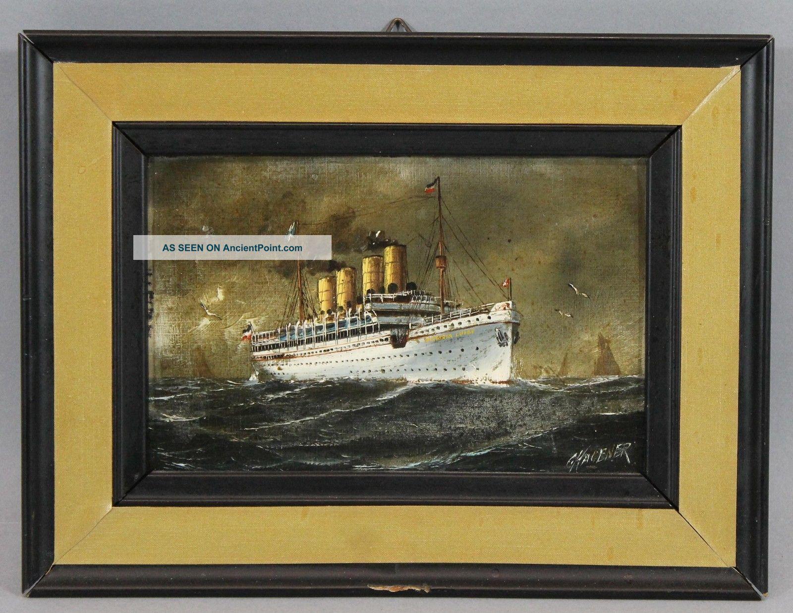 Antique C.  Hagener Miniature Maritime Oil Painting,  Ocean Liner Victoria Luise Folk Art photo