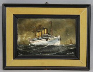 Antique C.  Hagener Miniature Maritime Oil Painting,  Ocean Liner Victoria Luise photo