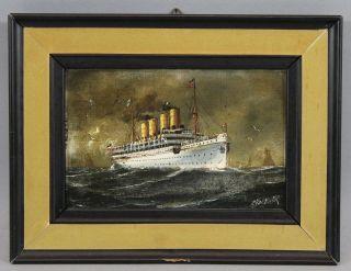 Antique C.  Hagener Miniature Maritime Oil Painting,  Ocean Liner Victoria Luise photo