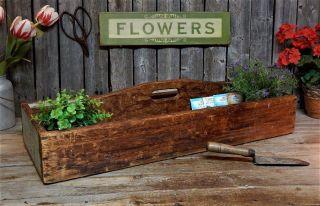 Antique Primitive Wood Carpenters Tool Box Garden Tote Carrier Aafa Farmhouse, photo