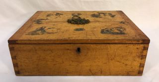 Antique Mid 19th C Primitive Solid Birdseye Tiger Maple Wood Dovetailed Box photo