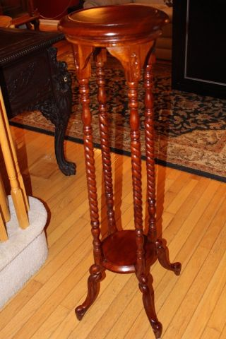 Antique Victorian Barley Twist Pedestal Plant Stand 19c photo