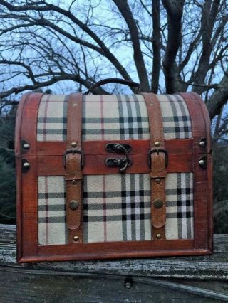 Antique Primitive Horse Saddle Burberry Plaid Round Top Treasure Chest Trunk Box photo