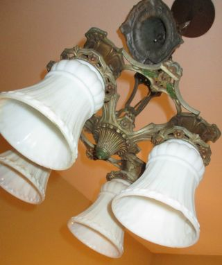 Vintage Art Deco Welsbach 4 Shade Polychromatic Cast Metal Chandelier Complete photo