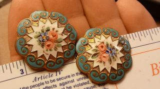 2 - Old Brass & Enamel Flower Floral Roses Decorated Buttons Earrings photo