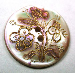Antique Carved Iridescent Shell Button Flower Sew Through Design - 11/16