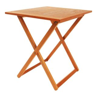Danish Modern Folding Teak Table Mid Century Vintage Tea Snack End Side Wood 60s photo