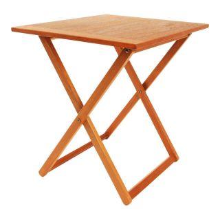 Danish Modern Folding Teak Table Mid Century Vintage Tea Snack End Side Wood 60s photo