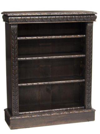 Fine Carved Victorian Hall Bookcase 19th Century photo