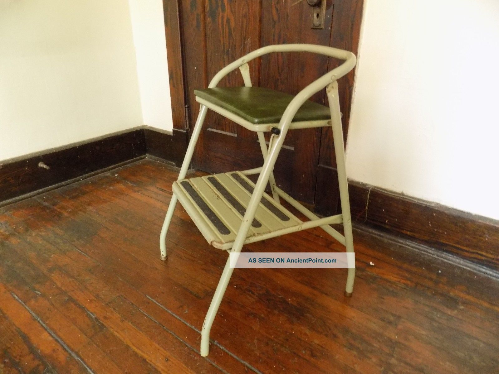 Vintage Step Stool Bench Seat Chair Green Stow Away Seat Retro Indiana
