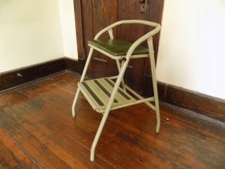 Vintage Step Stool Bench Seat Chair Green Stow Away Seat Retro Indiana photo