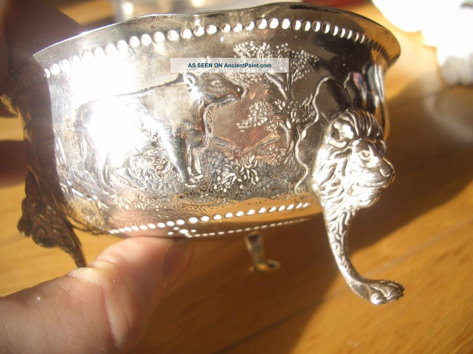 Stunning Solid Silver Embossed Lion Footed Butter Dish Full English Hallmarks Dishes & Coasters photo