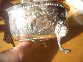 Stunning Solid Silver Embossed Lion Footed Butter Dish Full English Hallmarks photo