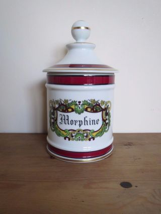 French Limoges Porcelain Apothecary Pharmacy Jar ' Morphine ' photo