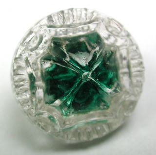 Antique Radiant Glass Button Flower Mold W/ Green Color - 5/8