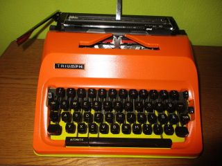 Vintage Rare Triumph Junior 10 Typewriter In Orange/yellow With Case Panton Era photo