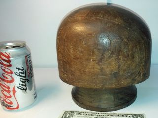 Antique Rare Millinery Wood Wooden Hat Block Mold Form Model Head 57cm / 22 1/2