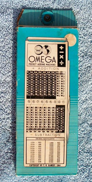 Vintage Omega Pocket Adding Machine Calculator 6wescosa 1964 photo