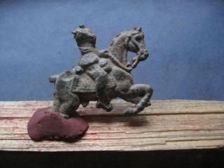 Ancient Celtic - Roman Lead Figure Of Danubian Horseman Cult 3 - 4 Ct.  Ad. photo