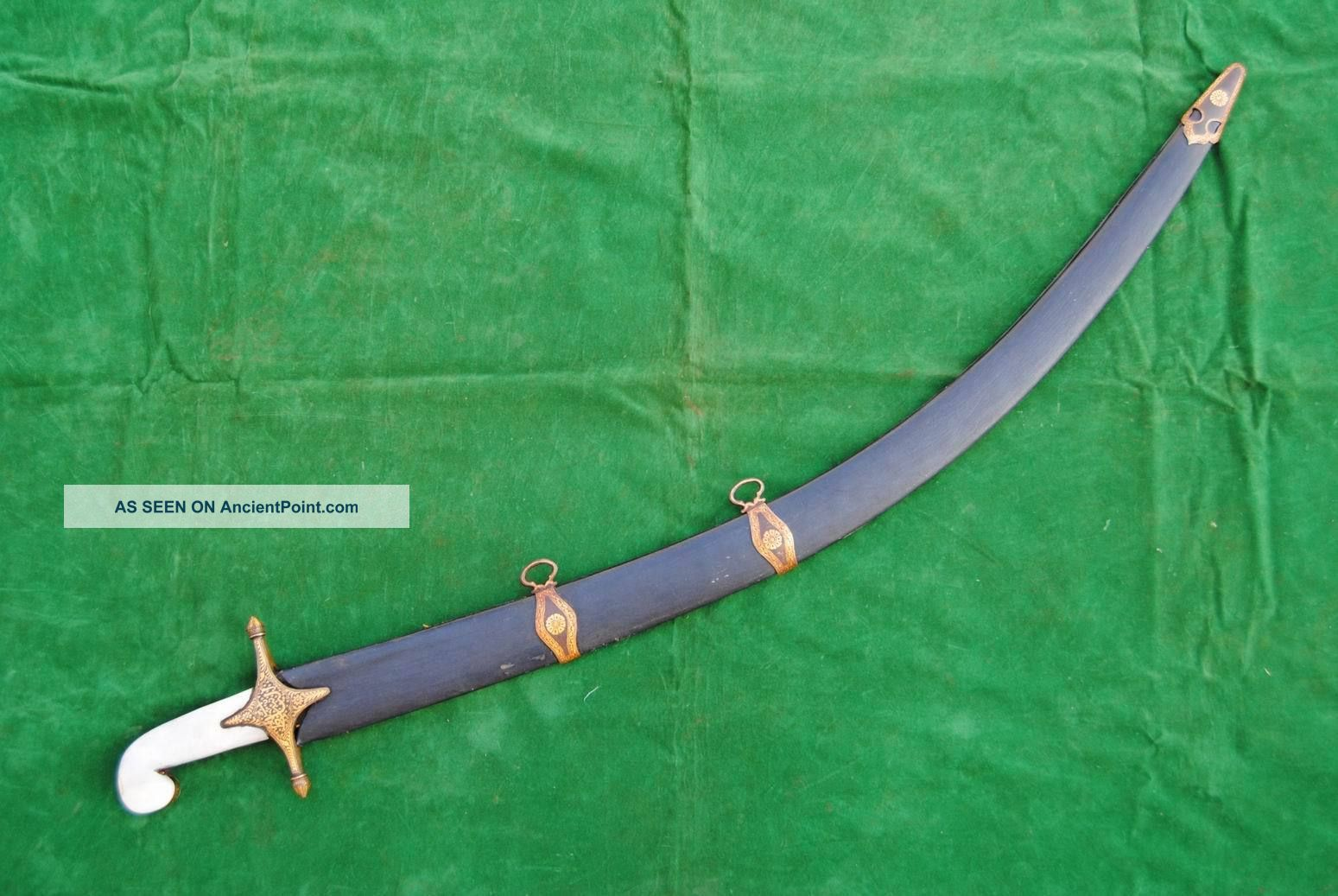 Islamic Gold Damascened Wootz Shamshir Sword Saber Kilij Stone Hilt الله Islamic photo