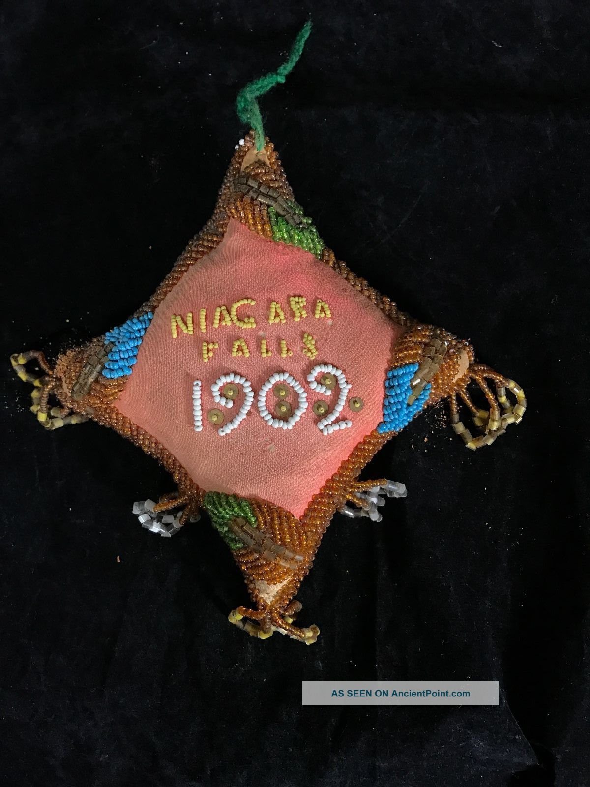 Iroquois Bead Work Pillow Pin Cushion Dated 1902 Native American Aafa Native American photo