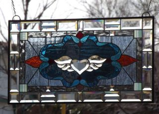 "• Hearts Desire •beveled Stained Glass Window Panel • 27 ½"" - 15 ½"" (70x39cm) photo"