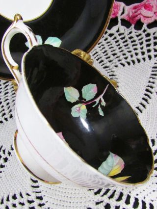 Paragon Pink Rose Blue Forget Me Not Black Tea Cup And Saucer photo
