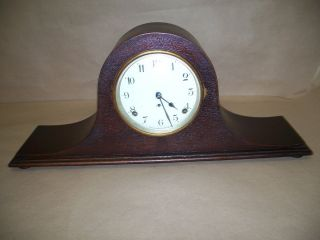 Seth Thomas 8 Day Hump Back Mantel Clock Porcelain Dial Runs Keeps Time Nr photo