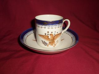 American Eagle Demitasse Cup& Saucer Vintage Antique Blue & White photo