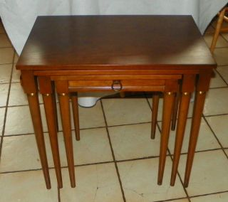 Walnut Nesting Tables / Side Tables By Heritage (t586) photo