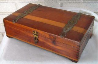 Vintage Wood And Metal Jewelry Box Cedar? photo