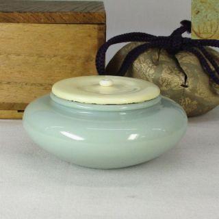 F507: Japanese Blue Porcelain Tea Caddy By Great Sozan Suwa And Shifuku photo