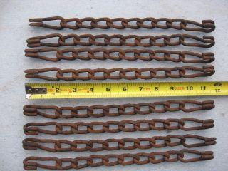 8 - Vintage Rusty Twisted Link Steel Chain & Hooks Wall Art Steampunk Craft 12