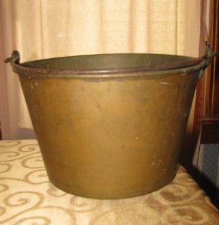 Antique Brass Bucket Pail Signed Brown & Bros Waterbury Ct Usa Made Vintage 1856 photo