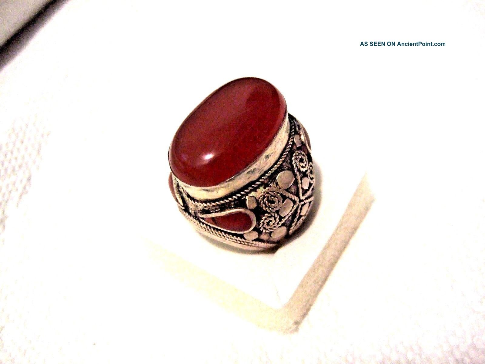 Vintage Islamic Middle Eastern Tribal Ethnic Big Red Agate Ring خاتم اسلامي Islamic photo