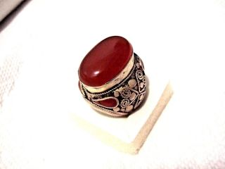 Vintage Islamic Middle Eastern Tribal Ethnic Big Red Agate Ring خاتم اسلامي photo