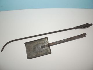 (2) Old Fireplace Hearth Tools - Coil Spring Handle Poker & Coal,  Ash Shovel photo