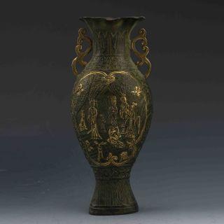 Chinese Bronze Gilt Handwork Beauty Statues G549 photo
