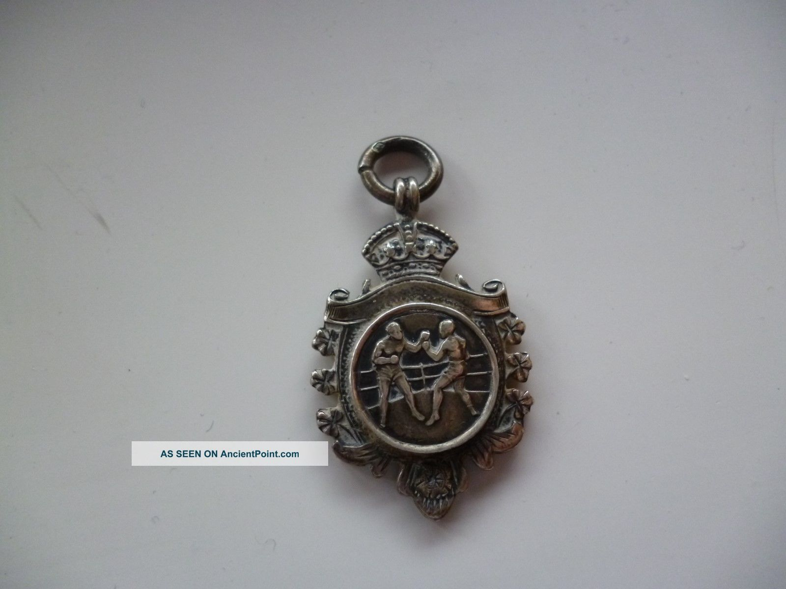 Solid Silver Fob Medal Boxing V.  & S.  Birmingham 1924 Blank Back Pocket Watches/Chains/Fobs photo