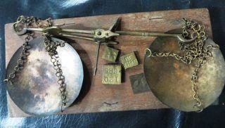 Antique Balancing Brass Scale In Wood Box Portable Jewellary Diamond Gem Gold photo