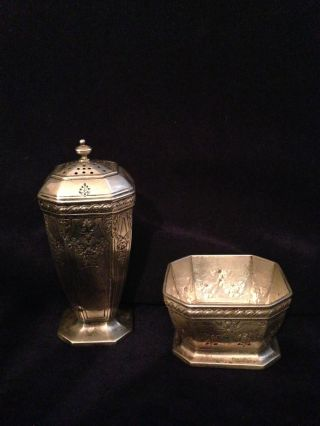 Durgin Fairfax 4 - B Engraved Salt Dish And Pepper Shaker photo