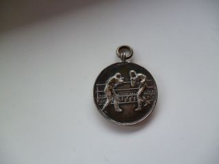 Solid Silver Fob Medal Boxing S.  B.  & S.  Ld Birmingham 1921 Blank Back photo