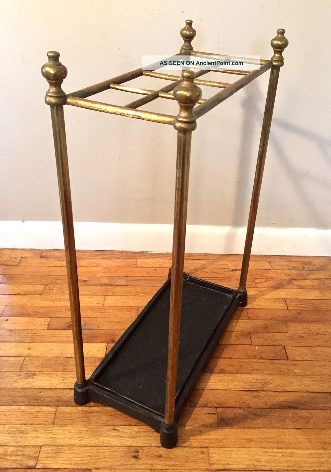 Antique Vtg Brass Umbrella Cane Stand Holder Cast Iron Base Hollywood Regency 1900-1950 photo