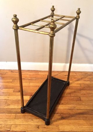 Antique Vtg Brass Umbrella Cane Stand Holder Cast Iron Base Hollywood Regency photo