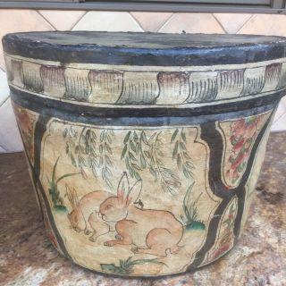 Antique Chinese Paper Mache Hat Storage Box Hand Painted 12